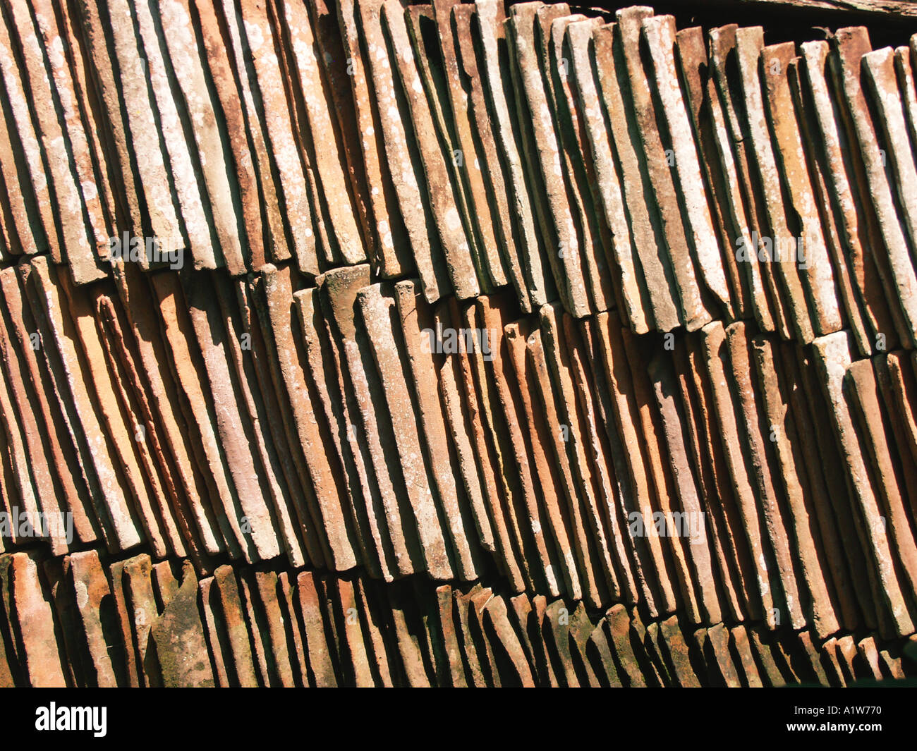Mexican style adobe roof tiles stacked in order : mexican roof - memphite.com