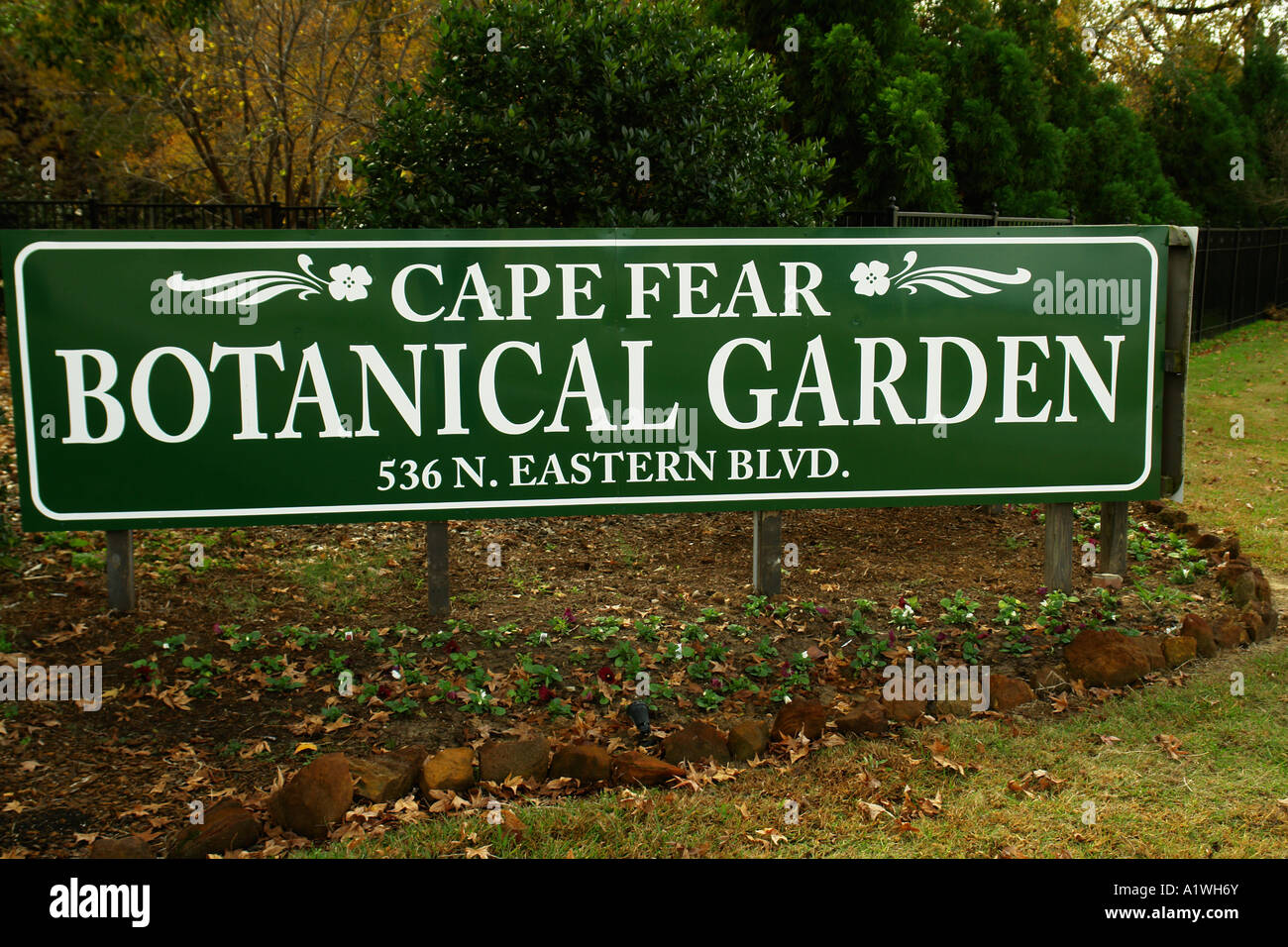 AJD54622, Fayetteville, NC, North Carolina, Cape Fear Botanical Gardens,  Entrance Sign