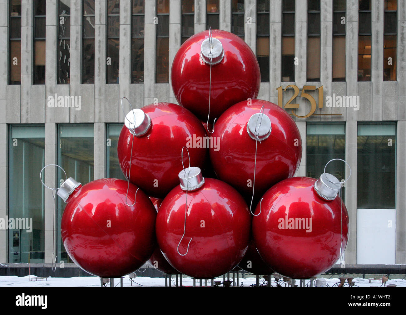 Large christmas baubles outside the chase bank 6th ave for Outside christmas baubles