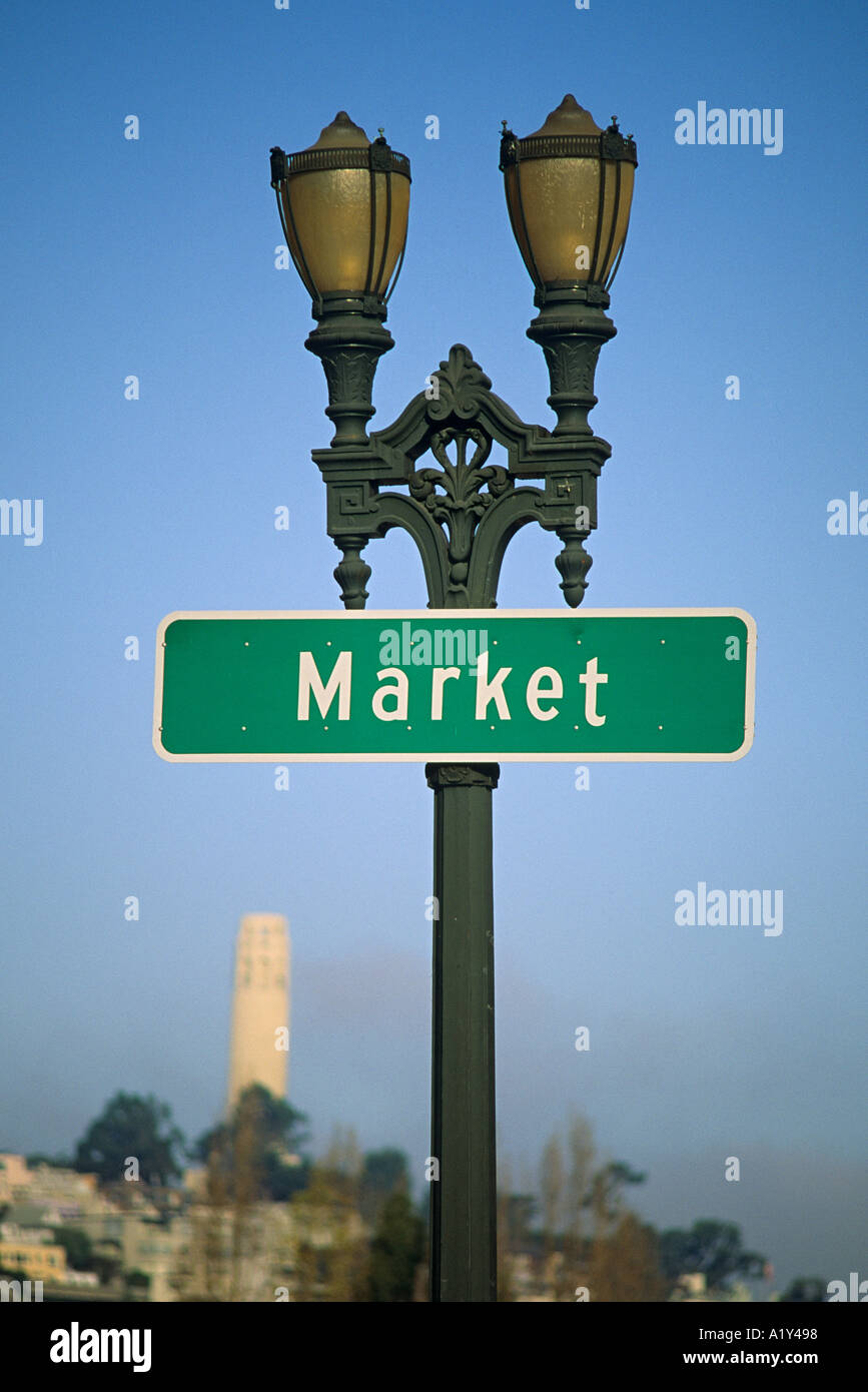 California San Francisco Market Street Sign On Lamp Post Telegraph Hill And Coit Tower In Background