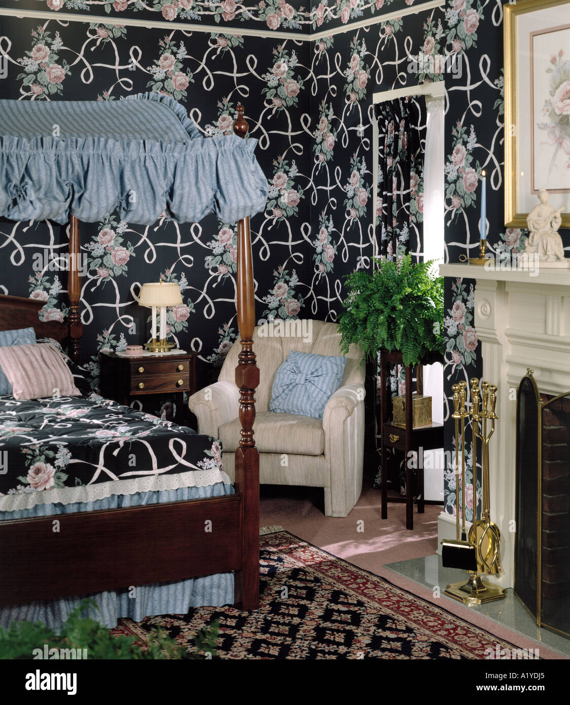 4 four poster canopy bed bedroom pillows fireplace oriental carpet