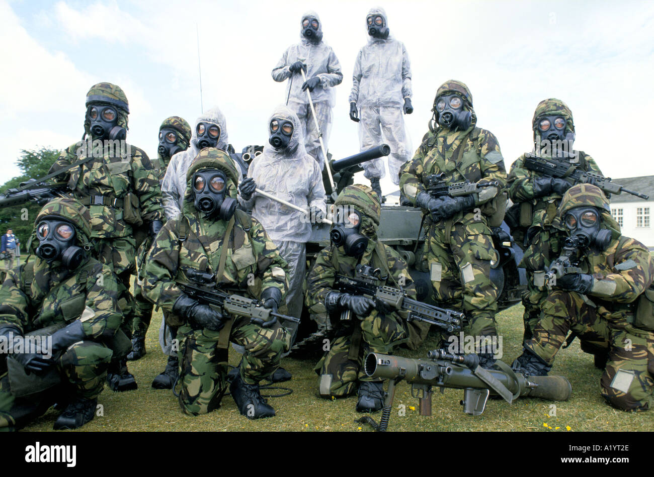 TROOPS MODELLING CHEMICAL DEFENCE UNIFORM WEAPON PORTON DOWN Stock ...