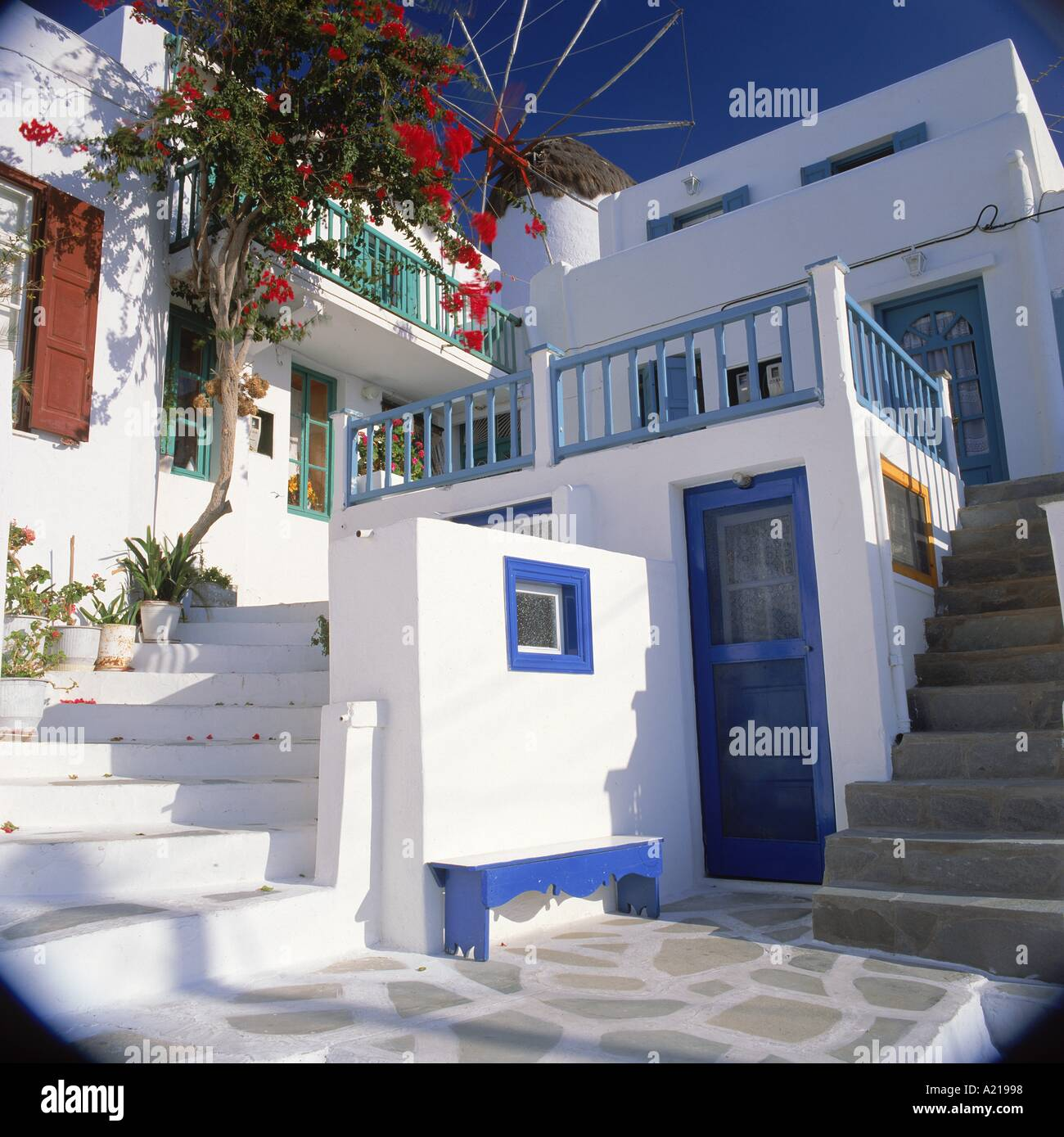 Blue Paint And White Steps And Walls Of Houses On Mykonos