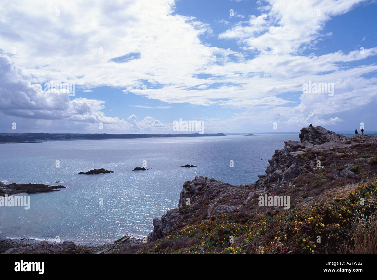 cap d 39 erquy and baie de saint brieuc on the brittany coast france stock photo royalty free. Black Bedroom Furniture Sets. Home Design Ideas