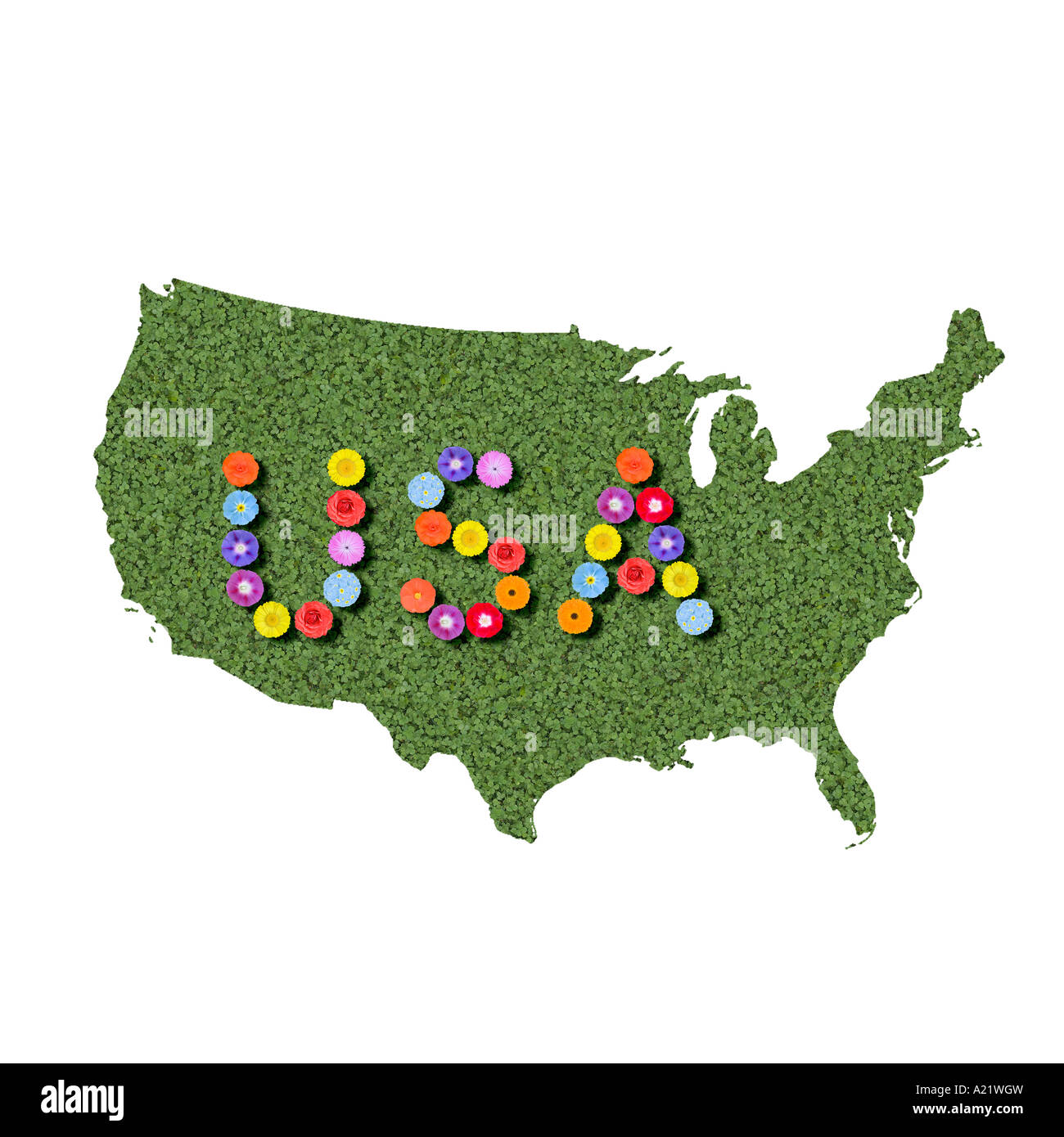 outline of the United States of America as a map spelled out Stock