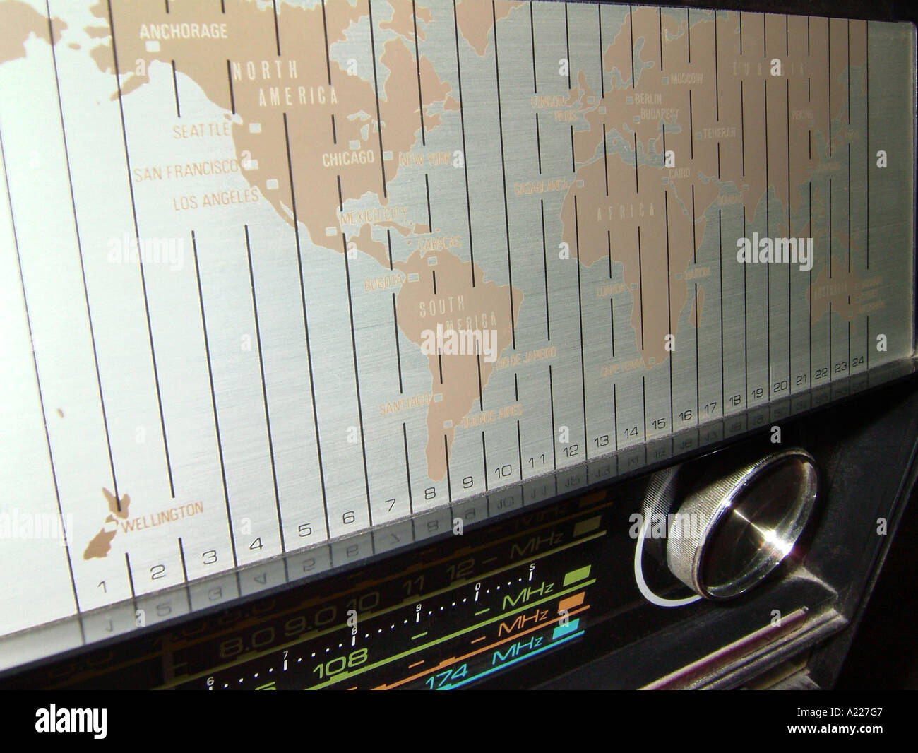 Map Showing World Time Zones On A Shortwave Radio Stock Photo - Chicago map time zone