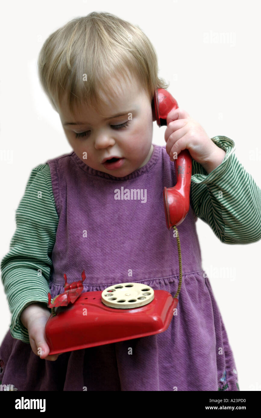 Toys For 18 Month Old Girl : Month old girl talking on fashioned toy telephone