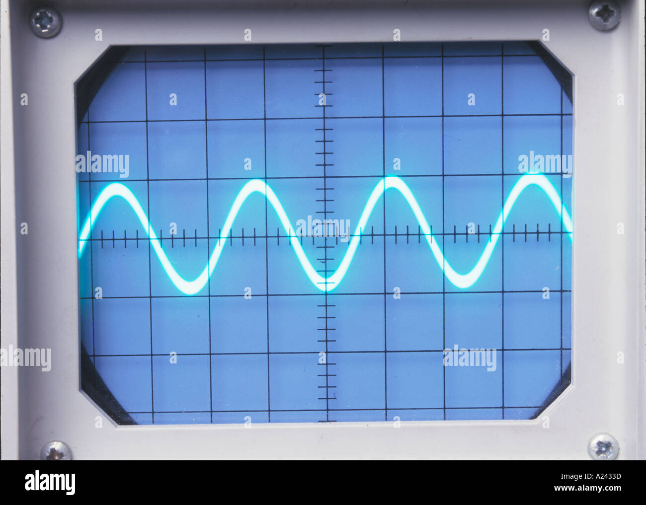Old Oscilloscope Screen : A sine wave of frequency f on an oscilloscope screen see