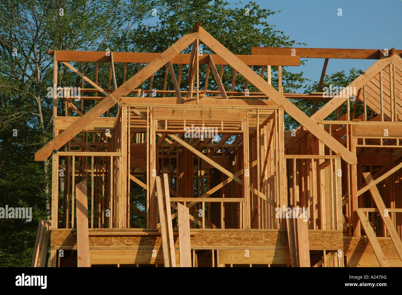 A House Under Construction In The Framing Stage Stock
