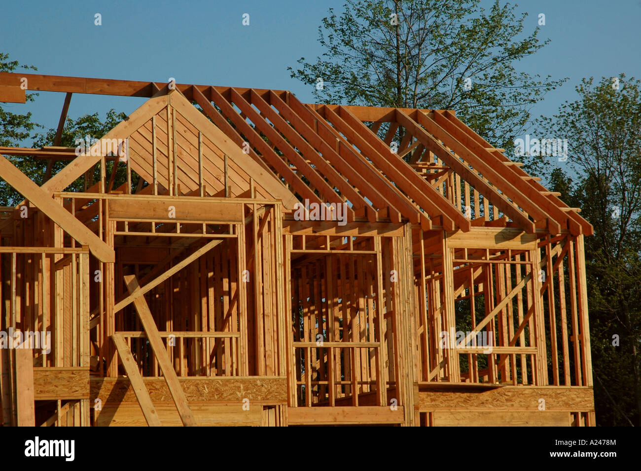 A house under construction in the framing stage stock for Stages in house construction