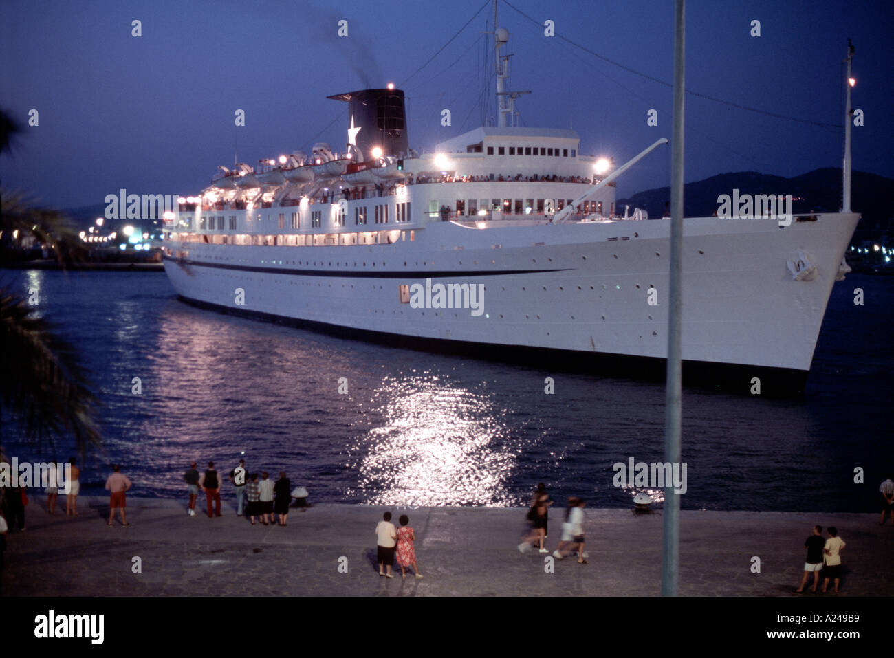 Ibiza Spain Cruise Ship In Port At Night Ocean Liner At Dock Stock Photo Royalty Free Image