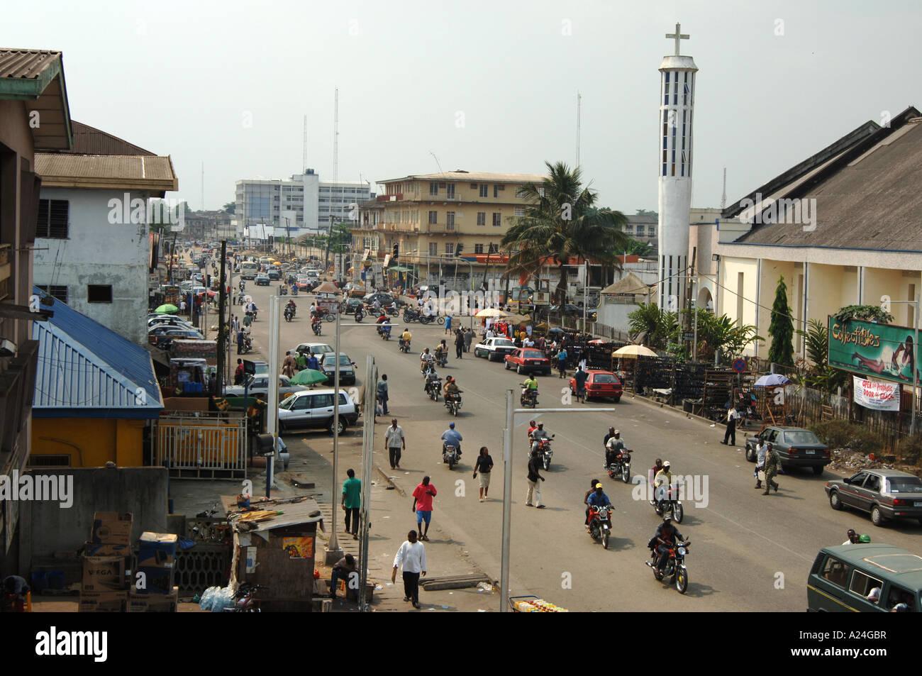 A busy traffic scene