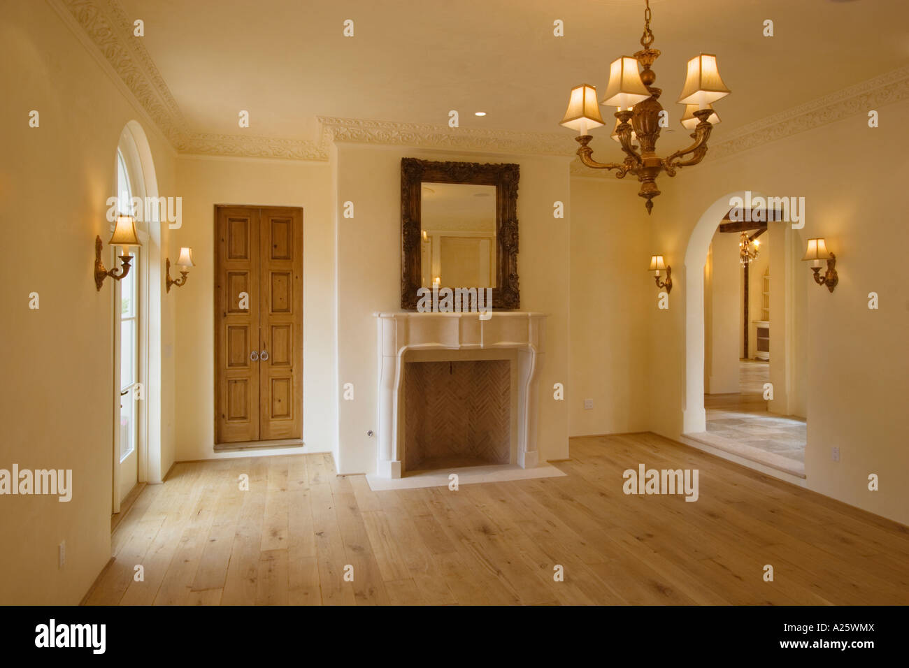 Formal DINING ROOM With Fireplace Hardwood Floors And Interior Lighting CALIFORNIA LUXURY HOME