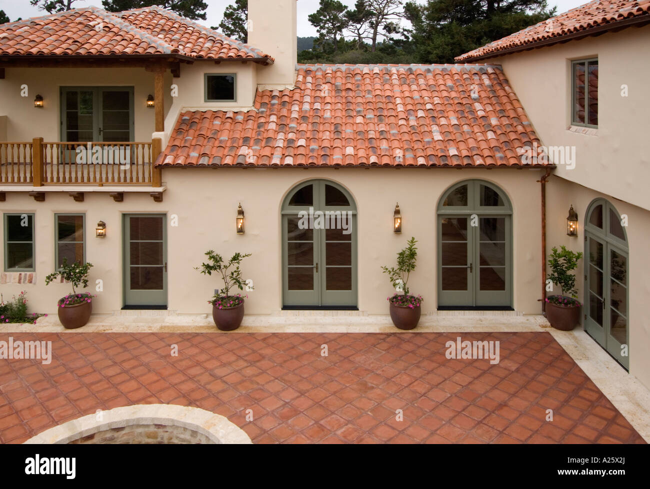 Stucco roof dark grey stucco exterior white trim nice for Spanish style roof tiles