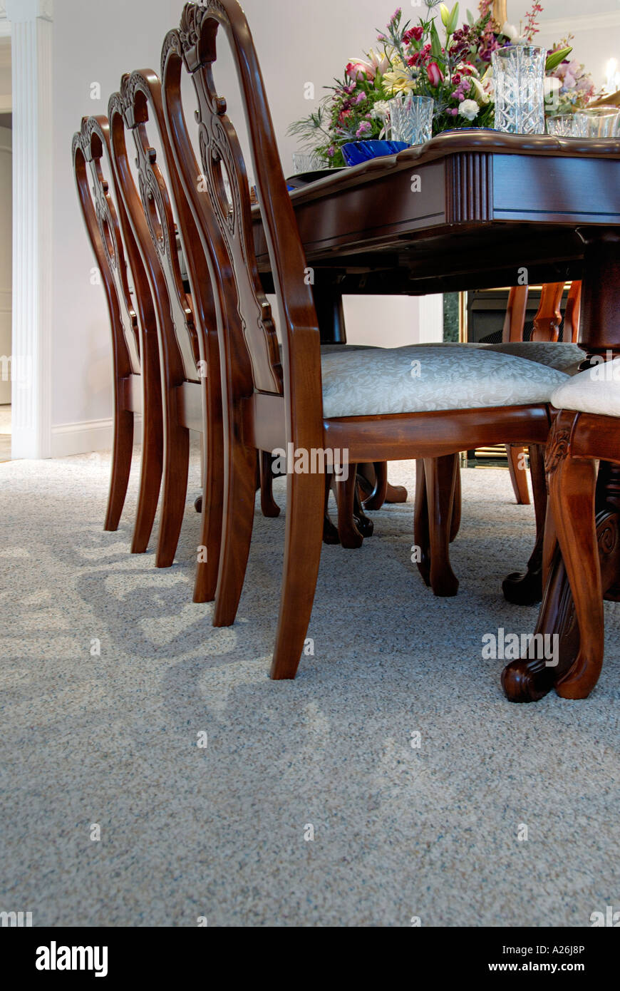 Low Angle View Of A Dining Room Table And Floor