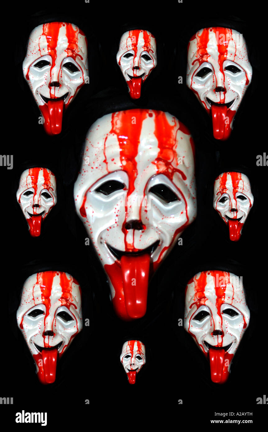 boy dressed up for halloween wearing a scary movie mask u0026 glovesalso known as all souls night