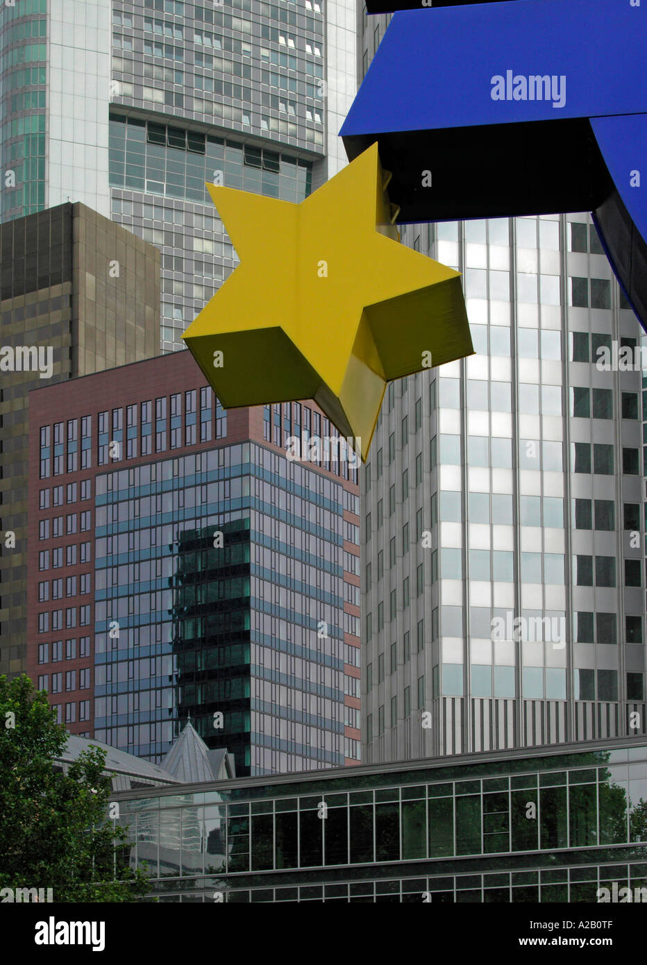 Sign symbol for euro with euro stars in front of the building of sign symbol for euro with euro stars in front of the building of ecb ezb european central bank in frankfurt am main germany buycottarizona