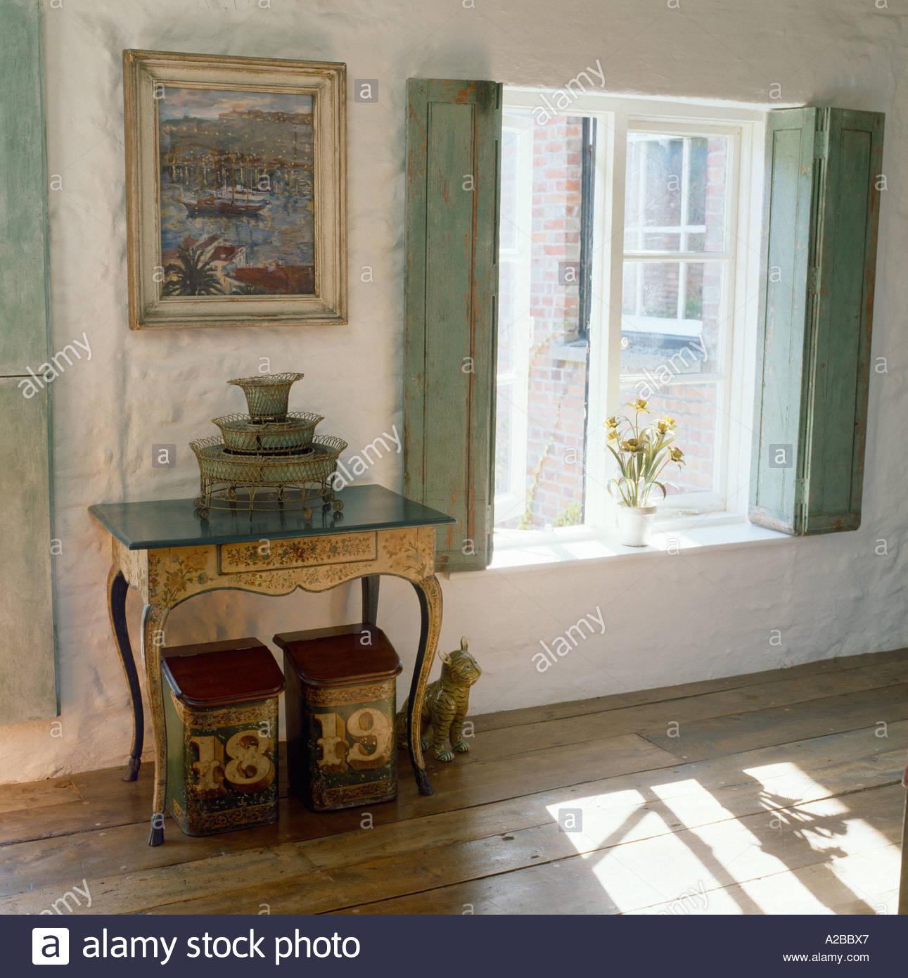 Bedroom With French Style Interior Windows With Shutters Stock Photo Royalty Free Image