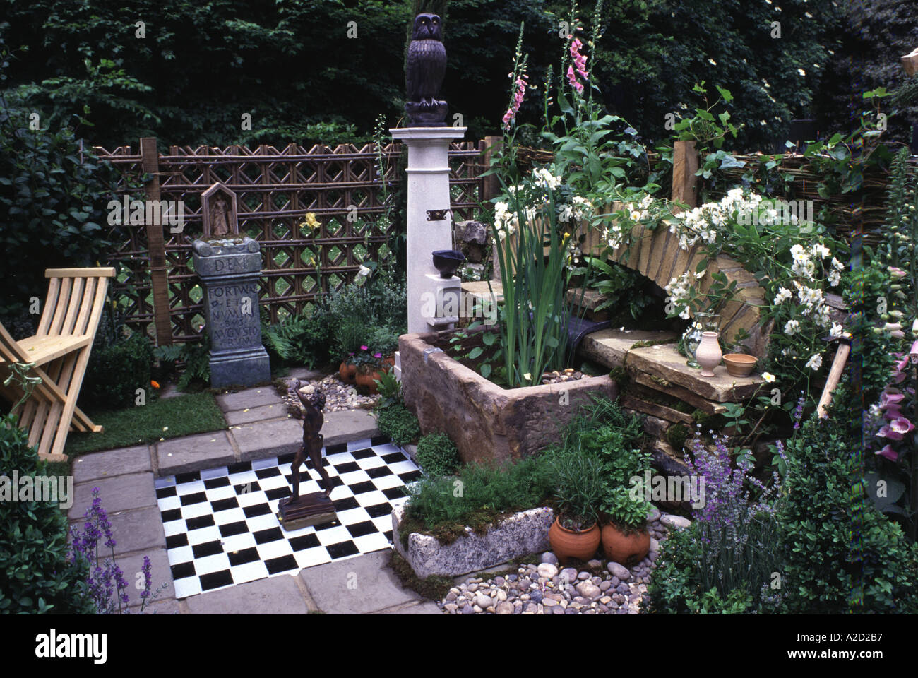 Decorative owl water feature courtyard garden with small for Ornamental garden features