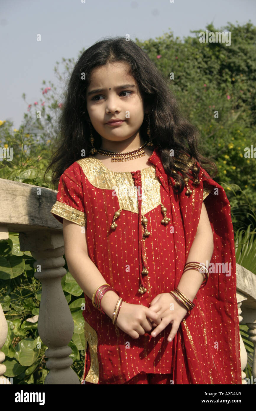 Indian Young Teen Model Fashion Glamour Model: NGS76853 South Asian Indian Young Girl Child Wearing Red