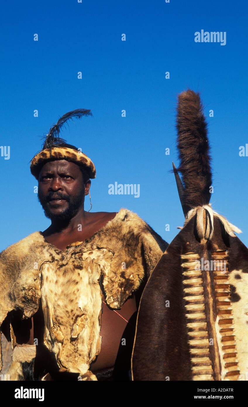 Zulu traditional dress in zulu kraal kwazulu natal - Stock Photo Zulu Chief Kwazulu Natal South Africa