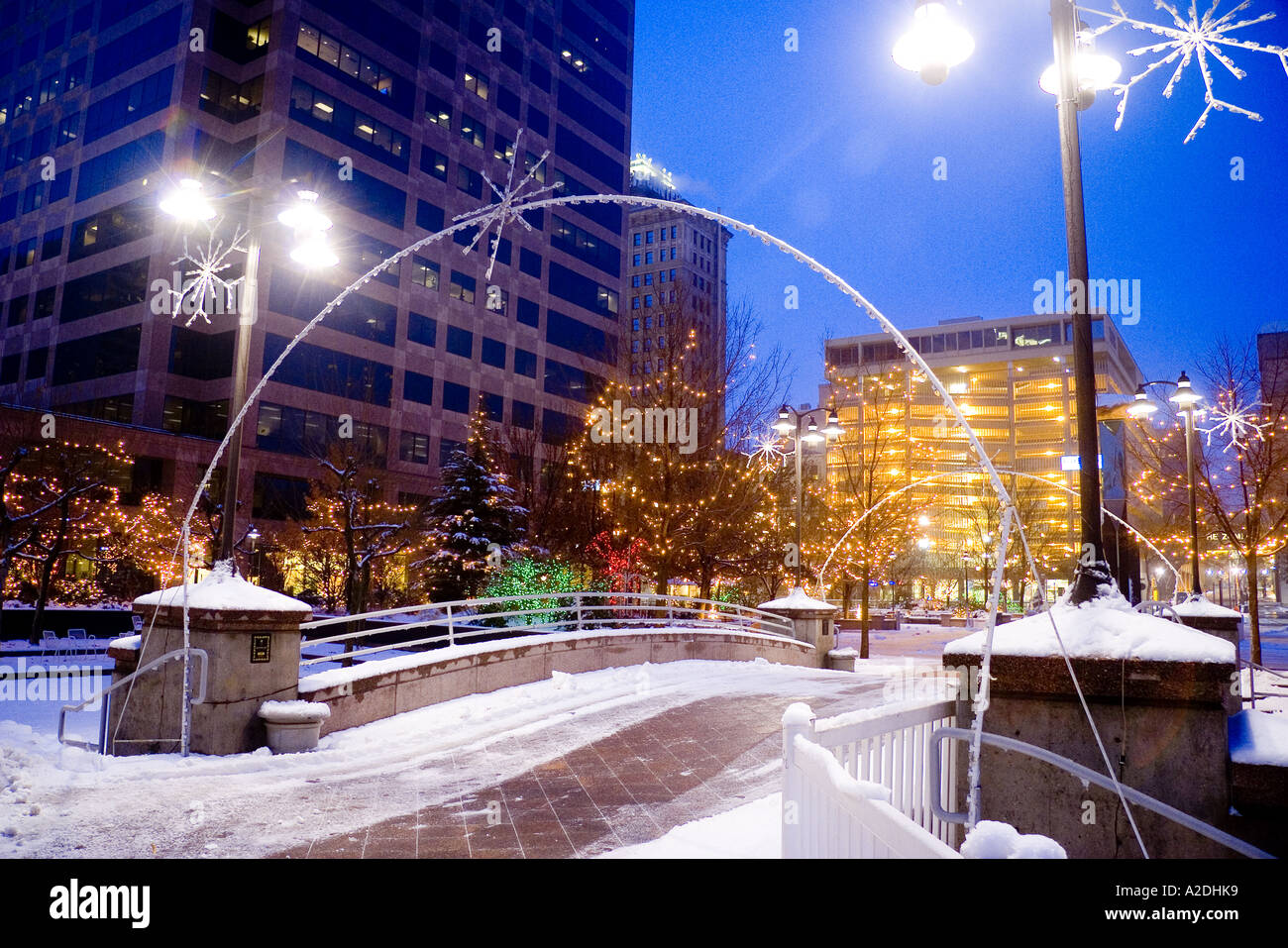 Christmas lights in the Gallivan Center in downtown Salt Lake City ...