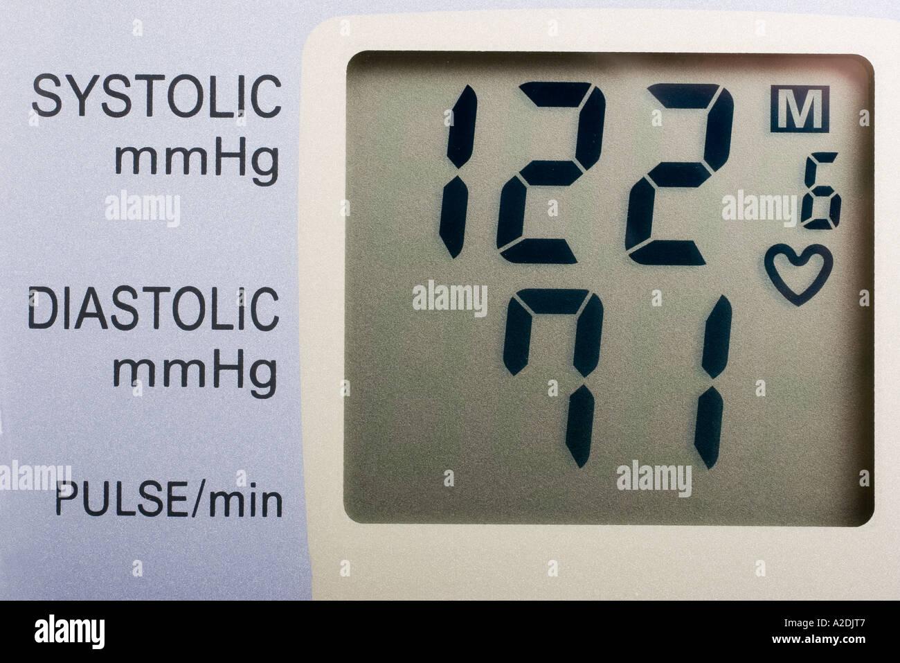 Digital display of a blood pressure monitor showing normal blood digital display of a blood pressure monitor showing normal blood pressure readout nvjuhfo Choice Image