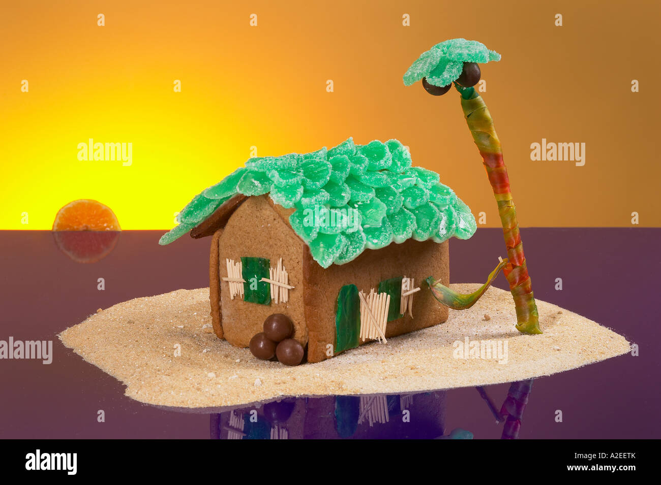 Tropical gingerbread house island theme stock photo for Tropical themed house