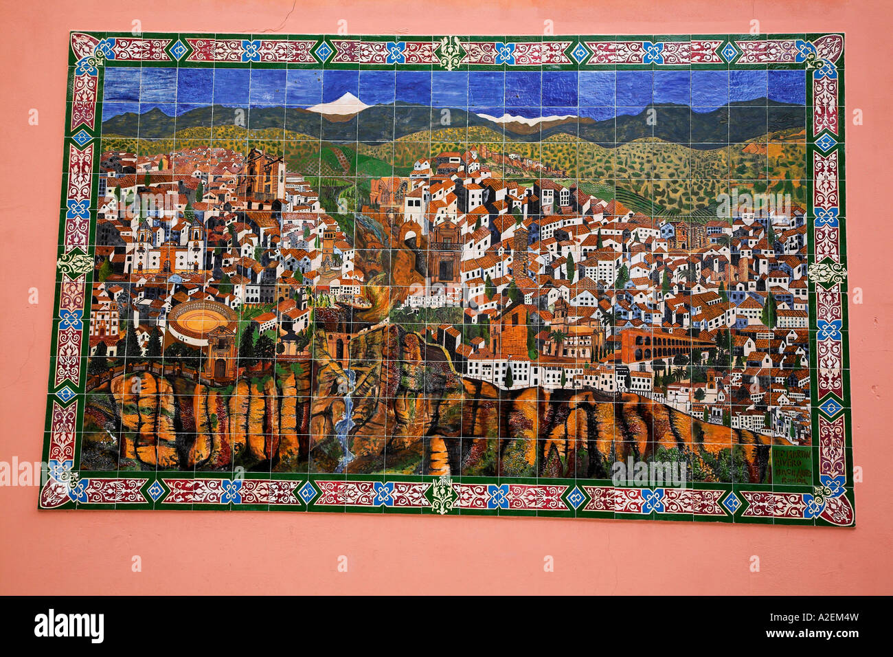 A ceramic tile mural of ronda located on a wall in the old town a ceramic tile mural of ronda located on a wall in the old town andalucia spain 2006 doublecrazyfo Images
