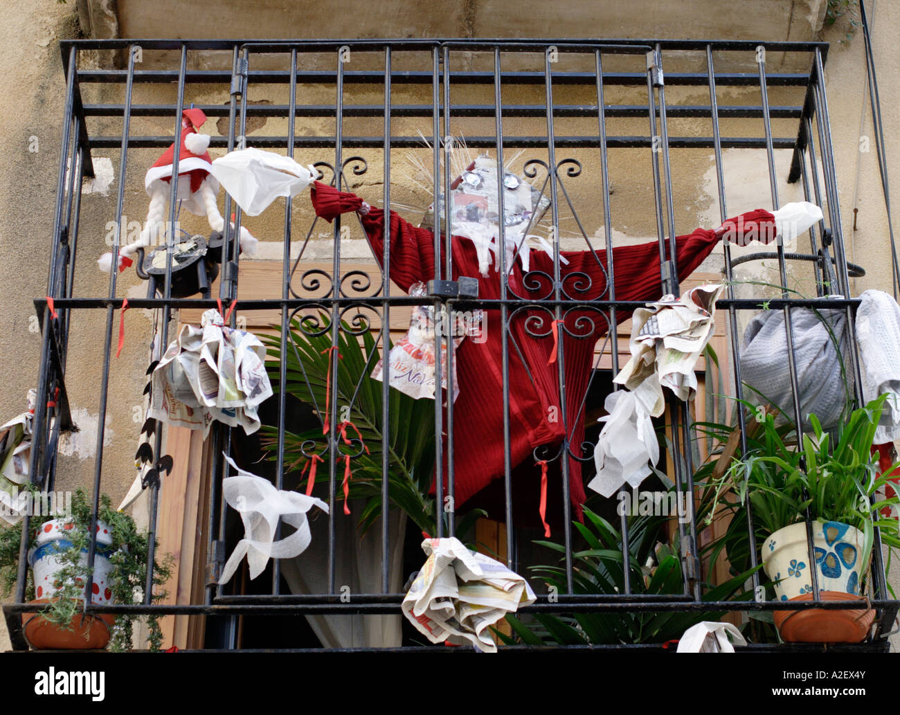 Decorations In Spain Christmas Decorations On Balcony In Alicante Old Town Spain Stock