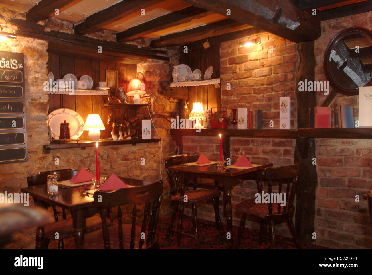 Candlelit Romantic Dining Room In Pub In England, Uk Stock Photo ...