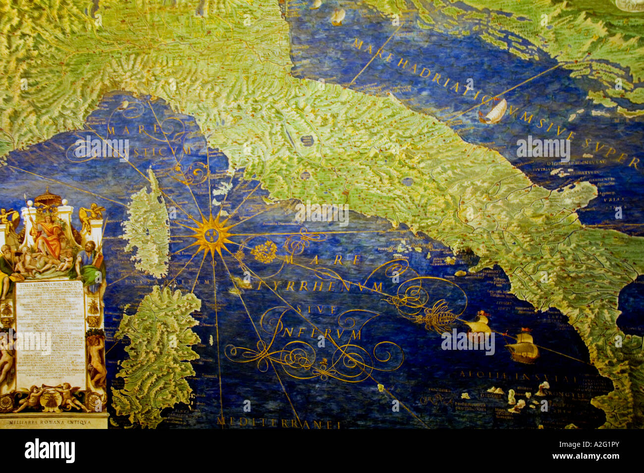 Antique map of Italy painting in Vatican Museum Room of Maps by