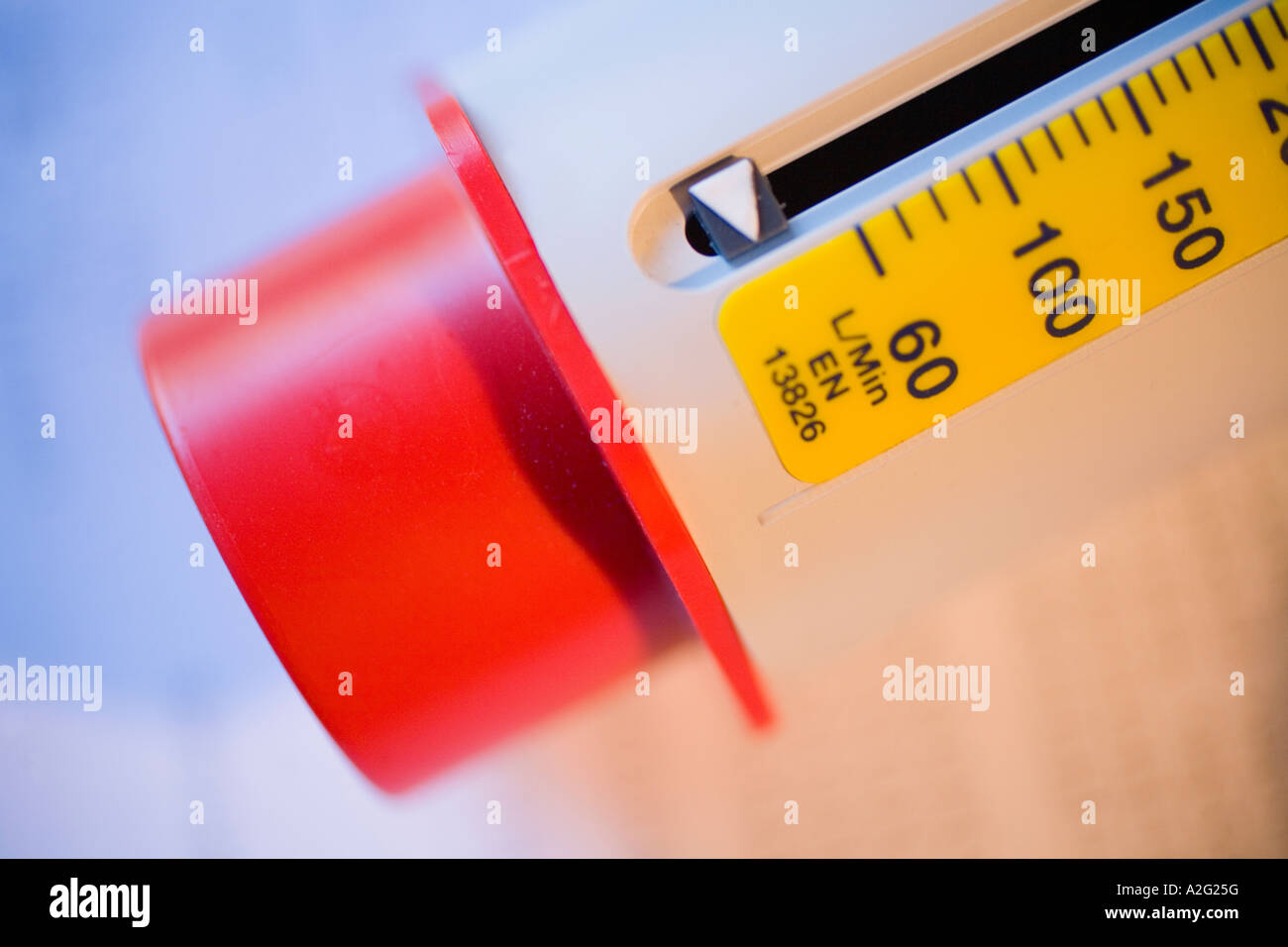 Peak flow meter use stock photos peak flow meter use stock peak flow meter european scale medical instrument used to measure severity of asthma lung disease nvjuhfo Choice Image