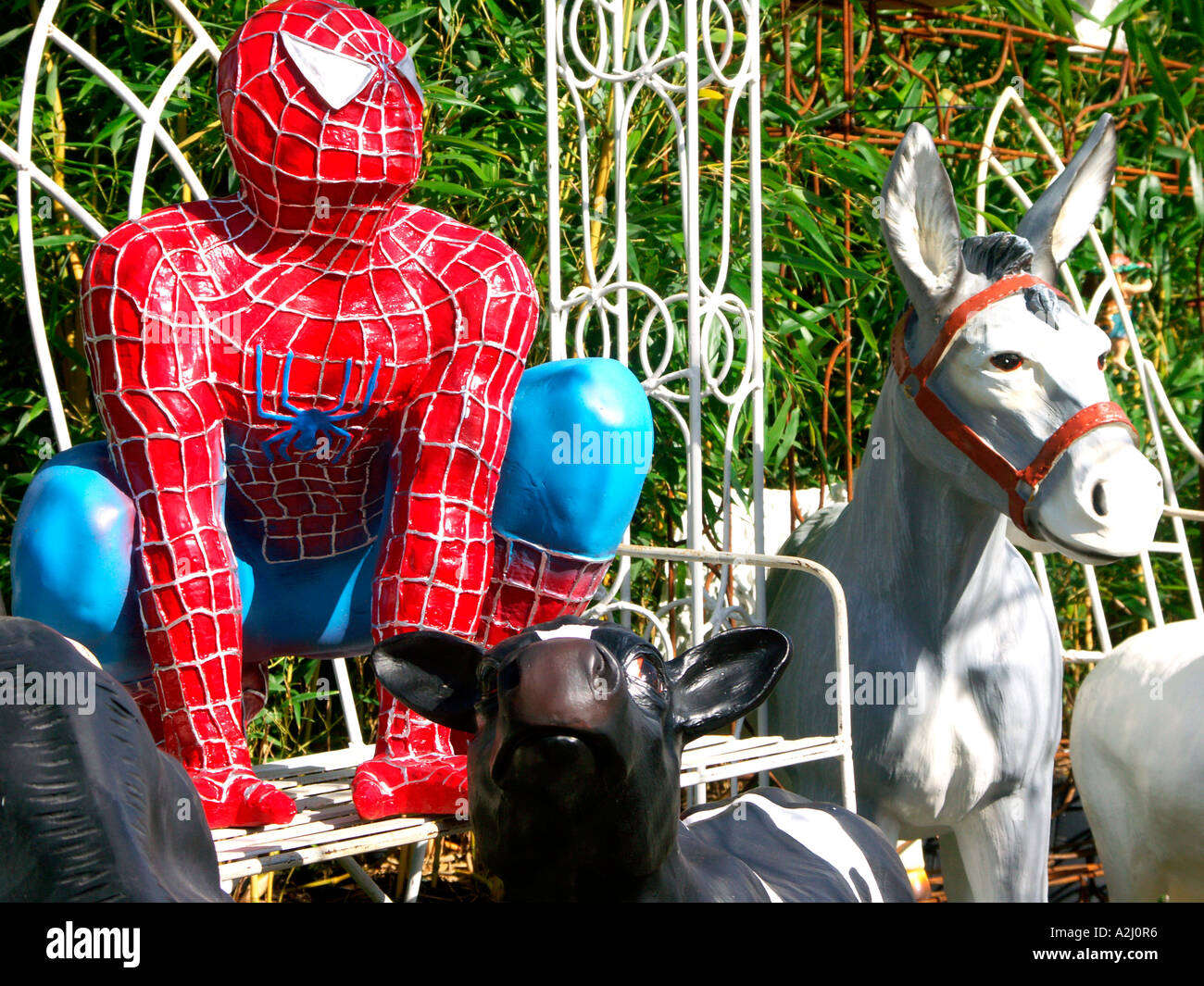 Donkey ornaments -  A Stall Selling Outdoor Garden Ornaments Including Spiderman And Donkey At The Malvern Spring Flower Show
