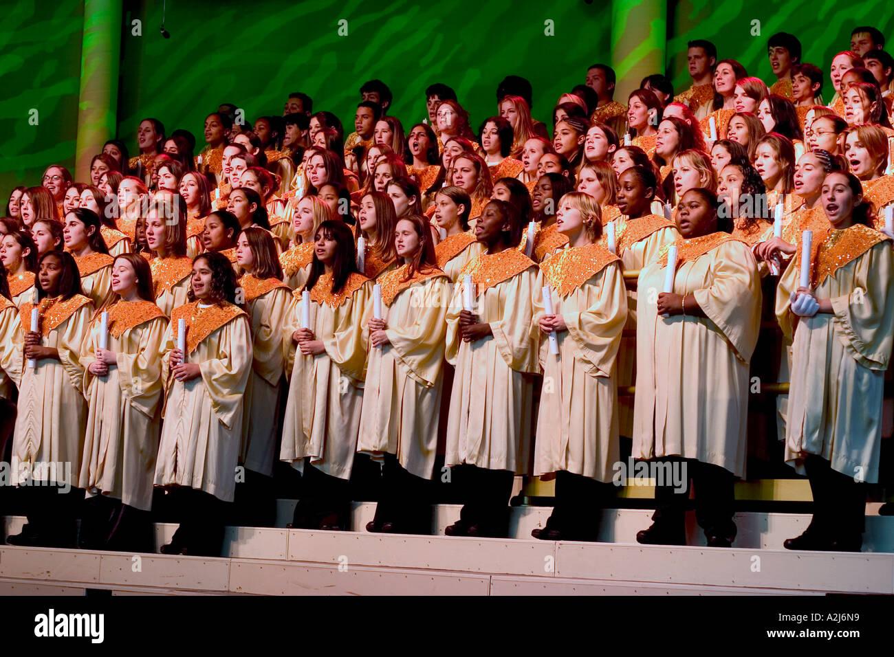Young people sing Christmas carols at Disney World near Orlando ...