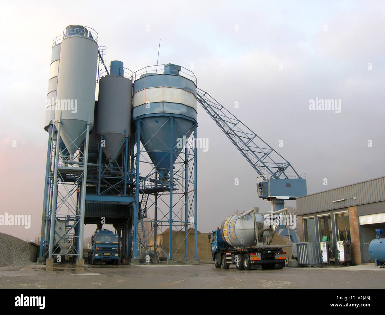 Cement Loading Plant : Concrete cement plant with truck loading stock photo
