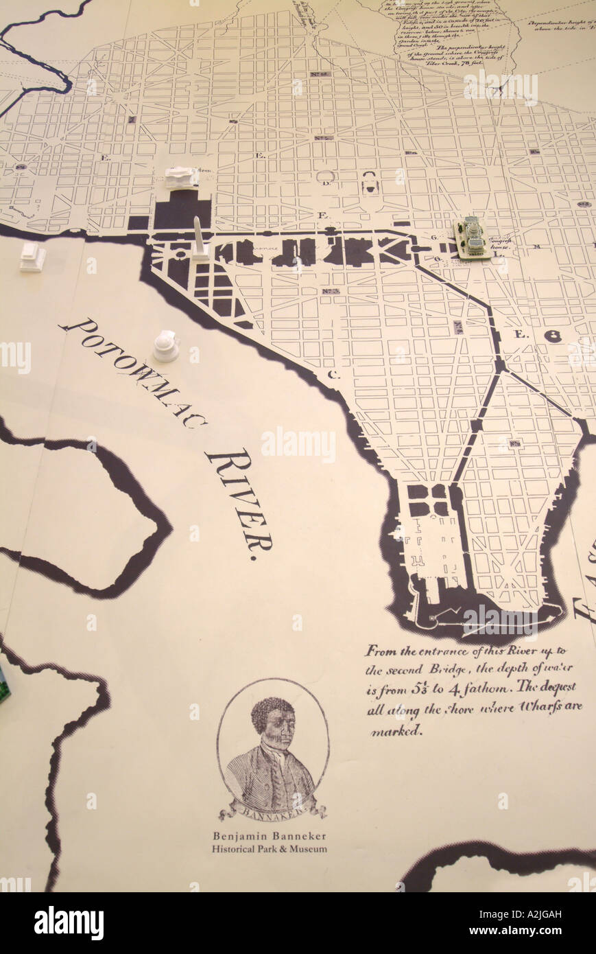 A large replica of the 1791 Federal City Plan by Pierre L Enfant