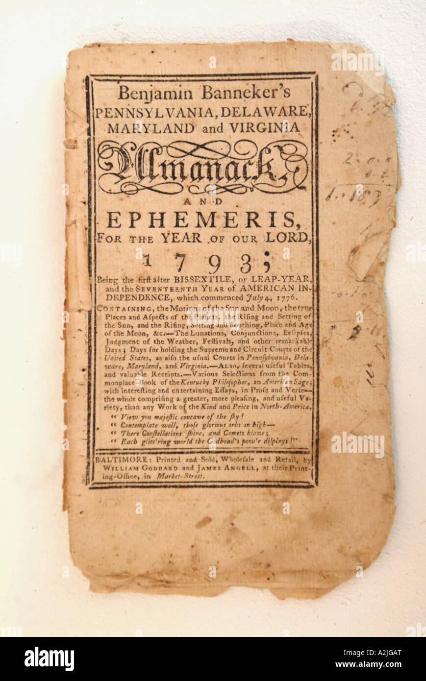 An original copy of Benjamin Banneker Almanac Stock Photo ...