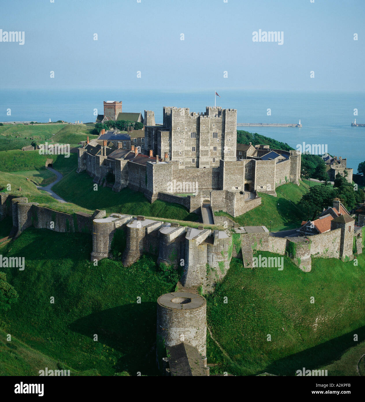 Dover castle keep and roman pharos overlooking harbour kent uk dover castle keep and roman pharos overlooking harbour kent uk aerial view sciox Image collections