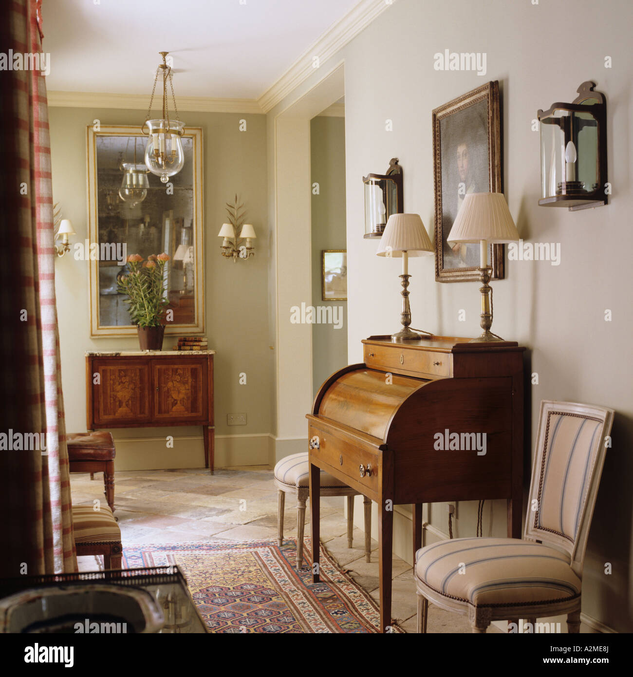 Hallway with writing bureau in english country house stock for Bureau in english