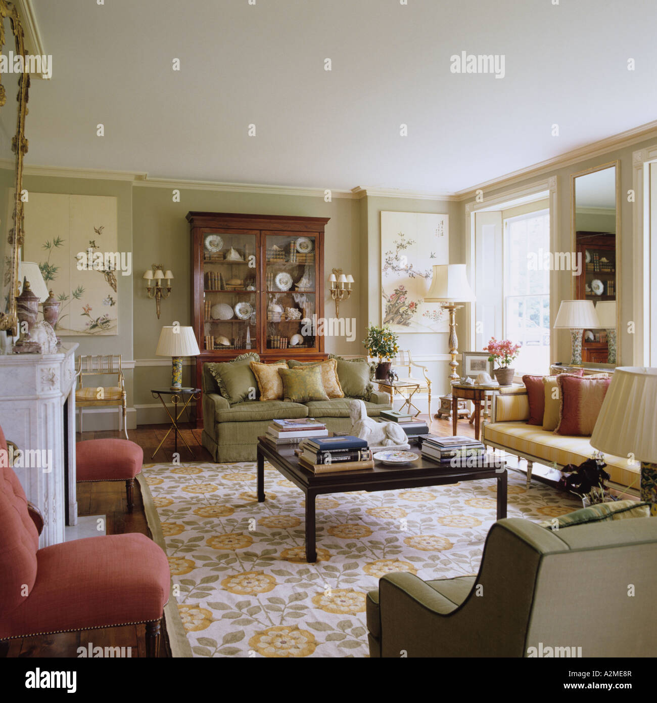 Living Room Country Living Room Of English Country House Dating From 1820s Stock Photo