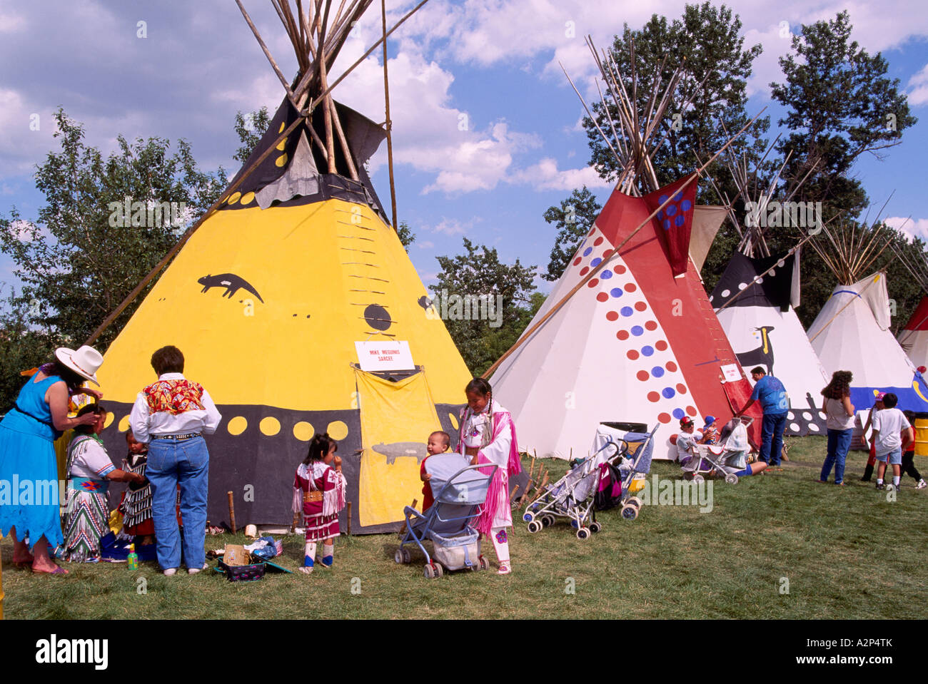 Teepees of the Plains Indians at the Calgary St&ede Indian Village in Calgary Alberta Canada & Teepees of the Plains Indians at the Calgary Stampede Indian ...