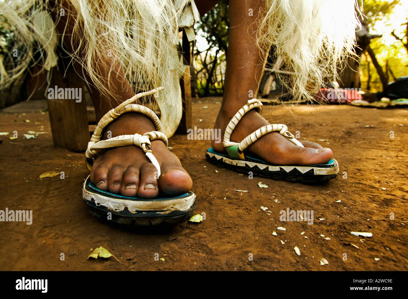 People Zulu Man In Traditional Dress With Sandals Made