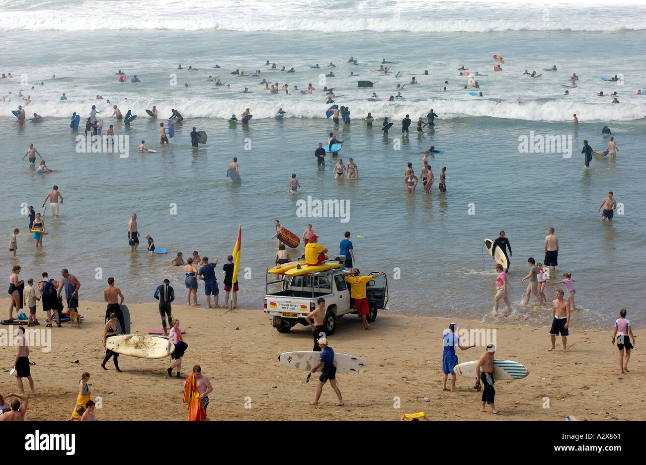 Activity At Fistral Beach Newquay In Cornwall England Uk On A Busy August Summer Day