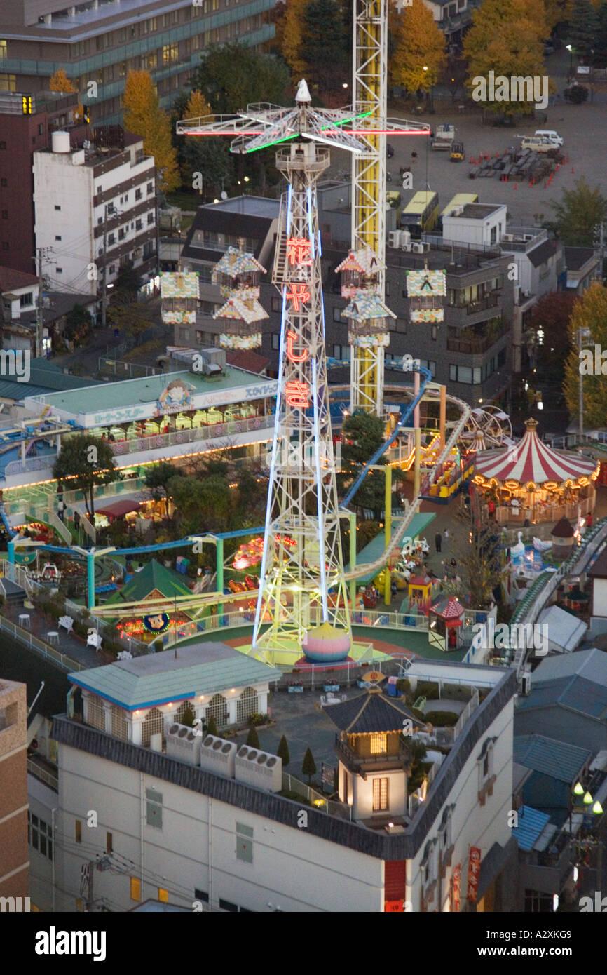 Tokyo Japan Asakusa Hanayashiki amusement theme park at dusk Stock Photo, Roy...
