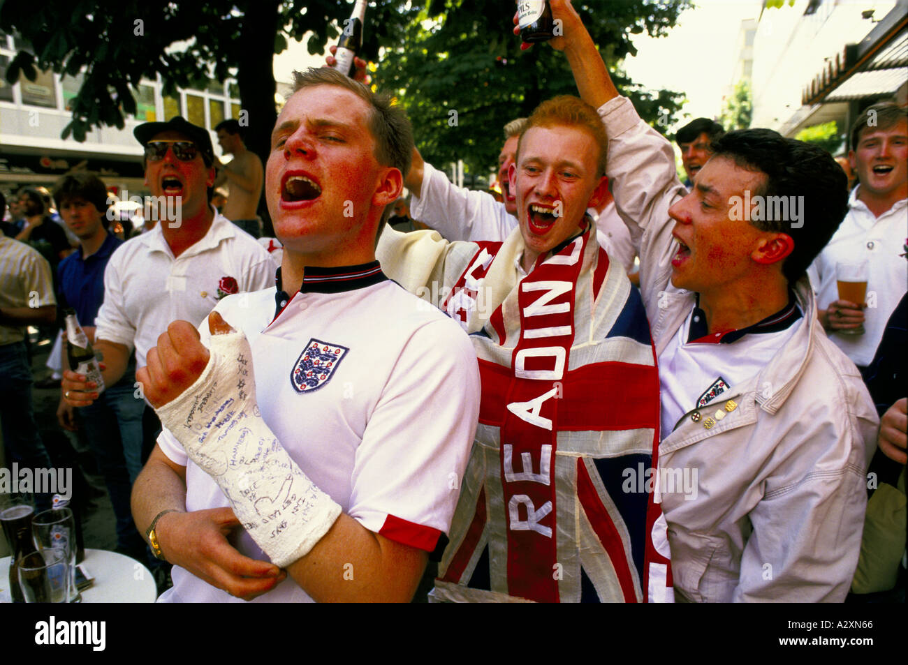 English football fans from Reading cheering after an ...