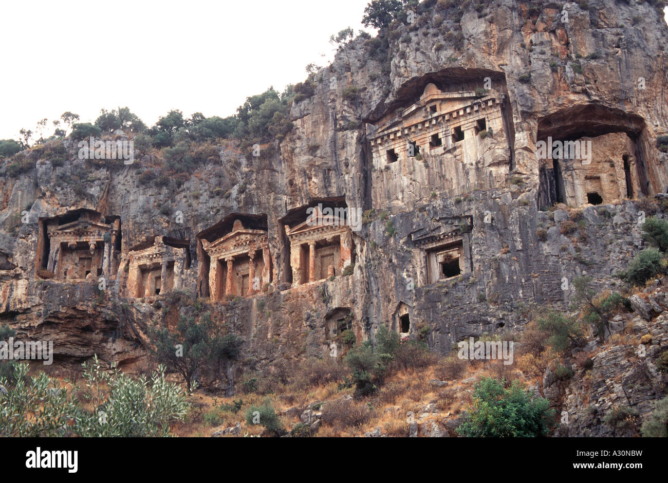 Lycian rock tombs in the historical city of Kaunos in ...