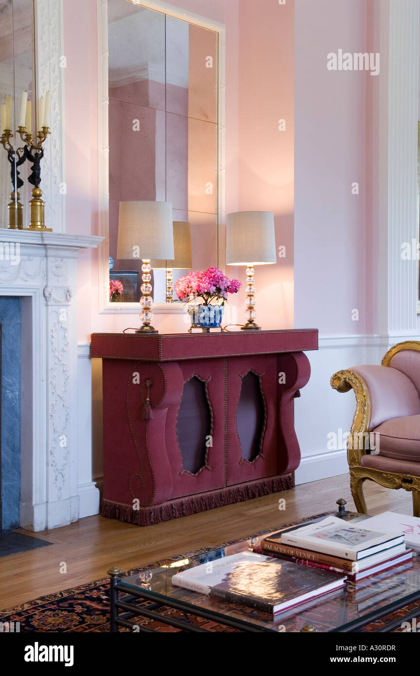 Detail Of A Living Room With Matching Lamps On A Pink Sideboard Part 51