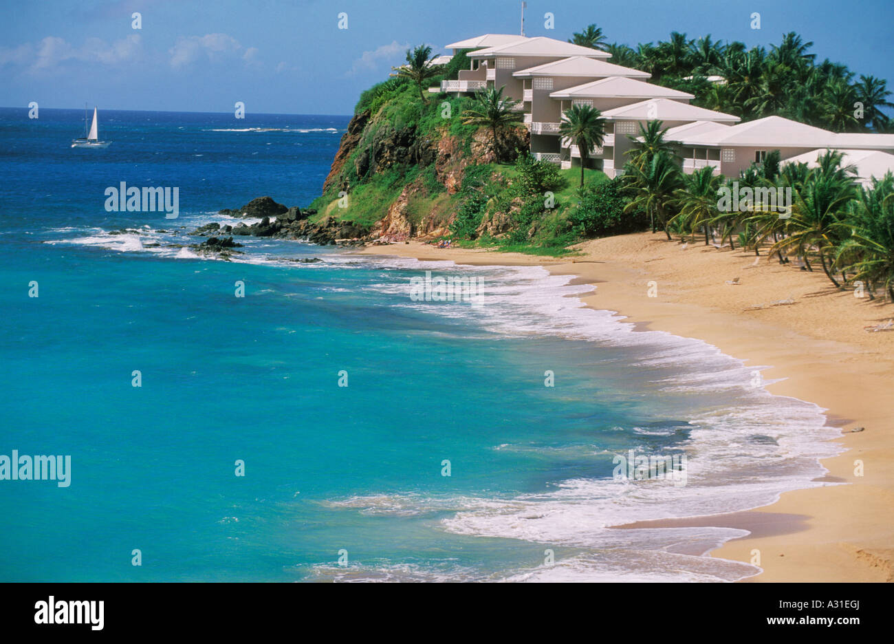The beach at Curtain Bluff Hotel Resort in the south of Antigua ...