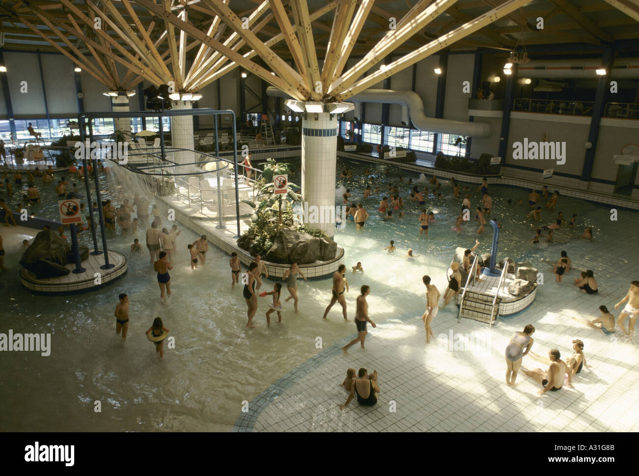 Holidaymakers In Indoor Swimming Pool At Butlins Holiday Camp Stock Photo Royalty Free Image